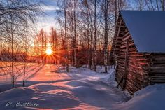 ***Winter sunrise by a cabin (Finland) by Asko Kuittinen Polar Night, Winter Scenery, Landscape Pictures, Winter White, Natural Wonders, Beautiful Landscapes, Winter Wonderland, Wilderness, Sunrise