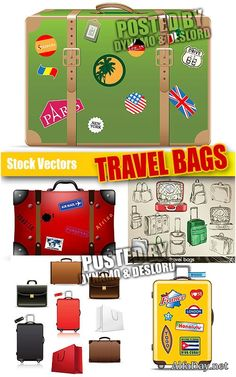 Туристические чемоданы - Векторный клипарт