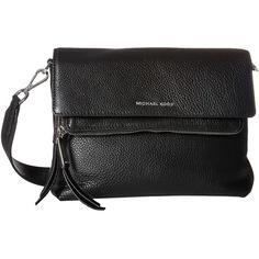 MICHAEL Michael Kors Ezra Medium Messenger (Black) Messenger Bags ($210) ❤ liked on Polyvore featuring bags, messenger bags, foldover bags, leather zipper bag, zipper messenger bag and michael michael kors