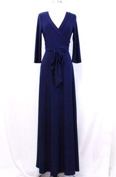 Navy blue faux wrap maxi dress  Shannasthreads.com