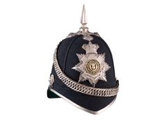 A VICTORIAN OFFICER'S CLOTH HELMET OF THE 5TH VOLUNTEER BATTALION OF THE ROYAL SCOTS with white metal fittings and plate, the thistle centre in gilt with green (not enamel) backing, the double white metal title scroll inscribed THE ROYAL SCOTS and 5TH VOLUNTEER BATTALION, fine quilted lining stamped in gilt with maker's name of Stewart & Son, 88 George St, Edinburgh