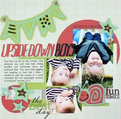 Upside Down Boys Be Young Cricut Cartridge #Scrapbook Layout Project Idea from Creative Memories  http://www.creativememories.com