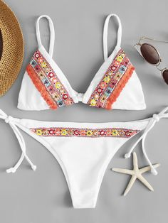 edda97408f Shop Embroidered Tie Side Bikini Set online. SheIn offers Embroidered Tie  Side Bikini Set