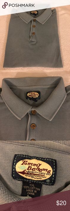 Tommy Bahama Blue-Grey Polo Shirt size XXL Tommy Bahama Solid Blue-Grey Short Sleeve Polo Shirt size XXL! Great condition! Please make reasonable offers and bundle! Ask questions! :) Tommy Bahama Shirts Polos