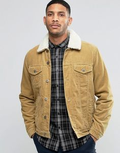 ASOS | ASOS Cord Western Jacket With Fleece Collar In Camel