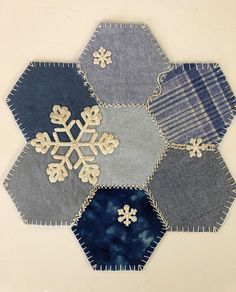 Snowflake Hexagon Candle Mat Penny Rug Measures approximately Show off your crazy quilt Embroidery Stitches on thi Hexagon Patchwork, Patchwork Quilting, Crazy Quilting, Hexagon Quilt Pattern, Hand Embroidery Patterns, Quilt Patterns Free, Embroidery Stitches, Print Patterns, Penny Rug Patterns