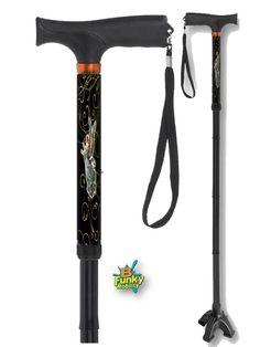 Folding Adjustable Walking Stick Fancy Aluminium Floral Light Weight Easy Fold