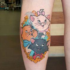 Sibling Tattoos, Girl Arm Tattoos, Bff Tattoos, Time Tattoos, Tatoos, Disney Sleeve Tattoos, Leg Sleeve Tattoo, Disney Tattoos, Aristocats Tattoo
