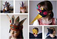 Felt masks and headdresses for kids via So Happy Kids