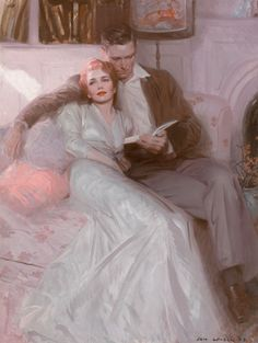 Tom Lovell, Back Comes the Bride, Ladies' Home Journal illustration, 1944, oil on canvas, 41 x 31.5 inch