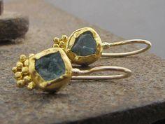 24k Gold Earrings / Raw Apatite Earrings / 24 Karat Gold