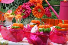 orange peppers for salad dishes, sand pails servers, GERBERAS. Hostess with the Mostess® - Flip Flop Summer Party Girls Luncheon, Bridal Luncheon, Homemade Slip And Slide, Party Pops, Neon Party, Party Party, Party Time, Pink Pumpkin Party, Orange Party