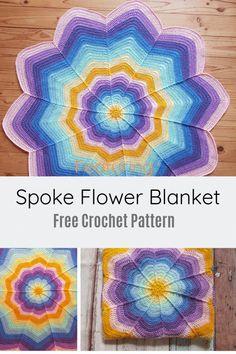 Quick And Easy Flower Blanket Free Crochet Pattern - Knit And Crochet Daily Crochet Star Blanket, Crochet For Beginners Blanket, Crochet Stars, Blanket Yarn, Crochet Blankets, Baby Blankets, Crochet Flower Patterns, Afghan Crochet Patterns, Crochet Flowers