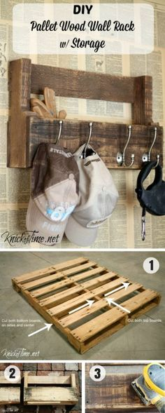 16.DIY Pallet Wall Rack