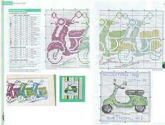 0 point de croix grille scooters -cliquer 1 fois puis 1 autre fois pour agrandir le patron Basic Embroidery Stitches, Hand Embroidery, Retro Scooter, Henny Penny, Cross Stitch Samplers, Vespa, Scooters, Stitch Patterns, Bullet Journal