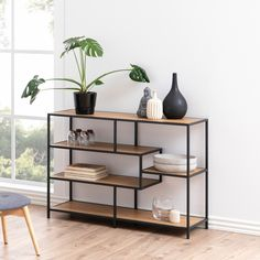 78 cm AMBRA Imitation oak and black- Étagère H. 78 cm AMBRA Imitation chêne et noir The AMBRA shelf will bring out your decorative objects thanks to … - House Furniture Design, Loft Furniture, Steel Furniture, Rustic Furniture, Modern Furniture, Furniture Dolly, Furniture Movers, Luxury Furniture, Industrial Interiors