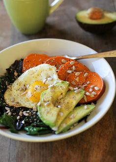 Sweet Potato Breakfast Bowl with Beet Greens + Avocado.