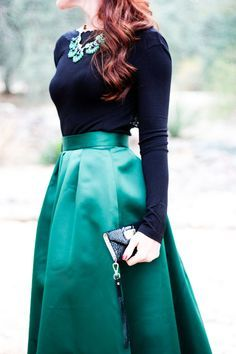 Black top, emerald skirt, love the combination