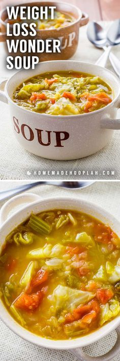 Weight Loss Wonder Soup! No matter what diet you're on, this healthy wonder soup is perfect for a snack or even makes for an easy meal. The soup is vegetarian, gluten free, vegan, and paleo, yet still packs a great and will leave you feeling full. | HomemadeHooplah.com