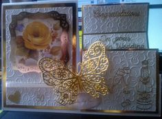 "Made by Christine Cummings - ""This card was made with the FREE Butterfly die from Tattered Lace Mag. I cut the butterfly 3 times in Gold Mirror card and joined them to make a fluttering Butterfly. I used Ivory Centura Pearl card and created a triple easel. There is flower embossing on Centura pearl, mounted on Gold mirror card. The topper was from the Timeless Elegance set from Hunkydory and finished off with Gold peel-offs. All items used were from Create and Craft."" #tatteredlace…"