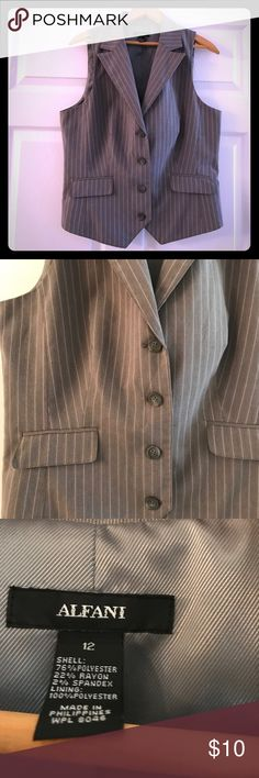 Alfani Gray Pinstriped Vest Gray Alfani Vest with white pinstripes.  Worn couple times.  Dry clean only. Alfani Jackets & Coats Vests