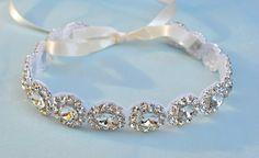 Headband  Ribbon  Crystal  Accessories  Bridal  by TangCreations, $52.00
