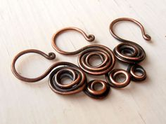 thecuriousbeadshop: Deco Rose Clasps - set of 3, antique copper handmade clasps, 1mm (18g) wire
