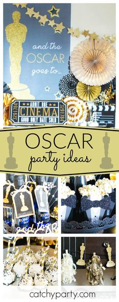 Elva M Design Studio's Movie Night / Oscar Party - Glitz and Glam Oscar Viewing Party at Catch My Party Movie Night Party, Party Time, Movie Nights, Fancy Party, Gold Party, Talent Show, Martinis, Hollywood Party, Festa Party