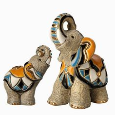 Ceramic Asian Elephant and Baby Figurine | De Rosa Collection