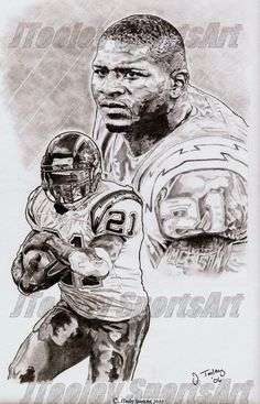 Ladanian Tomlinson of San Diego Chargers Poster Art by footballArt