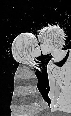 anime manga couple kissing at night
