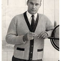 Mens Long Sleeve Cardigan Knitting PDF Pattern.  Hello Handsome.   This pattern contains directions to knit the cardigan pictured. This is an enduring design with all over ribbing, color bands, two front pockets and 5 button closure.