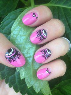 Pink and Black Lacey Nail Art!