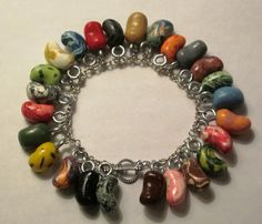 WANT! Bertie Bott's Every Flavor Bean Charm Bracelet - Harry Potter Jewelry - Jelly Beans - Candy - Honeydukes - Polymer Clay Food. $30.00, via Etsy.