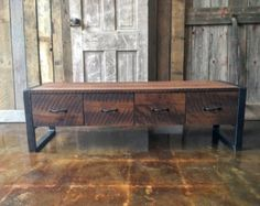 Rustic Storage Bench Industrial Entryway Bench Reclaimed by wwmake Rustic Storage Bench, Custom Crates, Reclaimed Wood Benches, Building Furniture, Furniture Design, Into The Woods, Rustic Feel, Old Wood, Etsy
