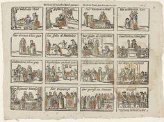 Johannes Kannewet (II) | Hier ziet gij met vermaak de kinders opgetogen / En ook een ouders pligt alk na zijn vermogen, Johannes Kannewet (II), Anonymous, 1725 - 1780 | Blad met 16 voorstellingen van verschillende stadia in het menselijk leven, van geboorte tot het trouwen. In elke afbeelding een titel. Genummerd rechtsboven: *K43.