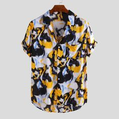 ChArmkpR Mens Animal Printed Chest Pocket Turn Down Collar Short Sleeve Casual Loose Shirts Best Online - NewChic Mens Printed Shirts, Loose Shirts, Henley Shirts, Printed Shorts, Men's Fashion, Fashion Outfits, Casual Shirts, Casual Outfits, Summer Outfits