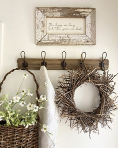 Rustic Farmhouse, Farmhouse Style, Vintage Furniture, Furniture Decor, Vintage Rugs, Old Benches, Twig Wreath, Faux Flowers, Autumn Home