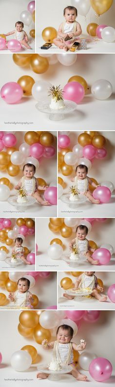 First birthday - CT baby photographer - Heather Kelly Photography - balloon cake smash