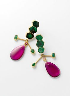 Rike Bartels - Untitled 2012 Earrings  Gold 900, emeralds, sapphires, synthetic rubies