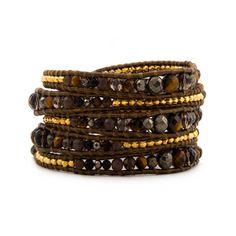Gold Smoky Topaz Quartz Beaded Brown Leather Wrap 5 Row Wide Cuff Bracelet | eBay