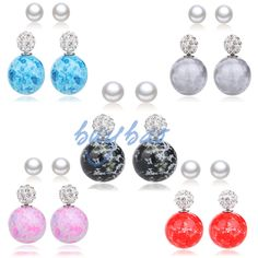 Nice 2 Pairs Candy Color Double Sided Resin Crystal Ball Pearl Earring Ear Stud #Unbranded #Stud