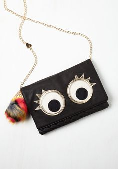 What's the Big Eye-dea? Bag. Quirky accessorizing is your calling, and when sporting this Betsey Johnson clutch, youll achieve googly greatness! #black #modcloth