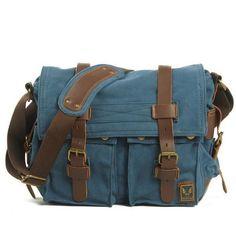 Blue Canvas Leather Camera Bag Leisure Shoulder Bag Messenger Bag DSLR Camera Bag 2138DL