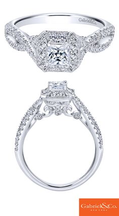 A 14k White Gold Diamond Halo Engagement Ring from Gabriel & Co. Discover your perfect engagement ring at Gabriel & Co.