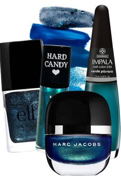Blue Green Algae  E.L.F Essential Nail Polish in Sea Escape, $2; eyeslipsface.com   Hard Candy Itzy Glitzy Micro Glitter Nail Polish in Touch of Teal, $4; walmart.com  Impala Nail Polish in Verde Pássaro, $7; amazon.com  Marc Jacobs Nail Glaze in Enamored, $18; marcjacobs.com