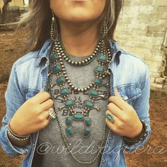 Navajo Pearls & Stormy Mountain Turquoise Squash Blossom. The Wild Vaquera's everyday go to jewelry. The