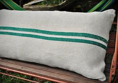 Bolster Pillow, Sofa Pillows, Pillow Shams, Seattle Homes, King Size Pillows, Christmas Pillow Covers, Grain Sack, Green Stripes, Grains