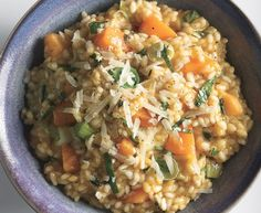 In this         luxurious risotto, leeks take the place of the         chopped onions that are traditionally used         in the beloved Italian rice dish.
