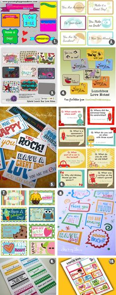 10 Pages of Free Printable Lunch Box Love Notes